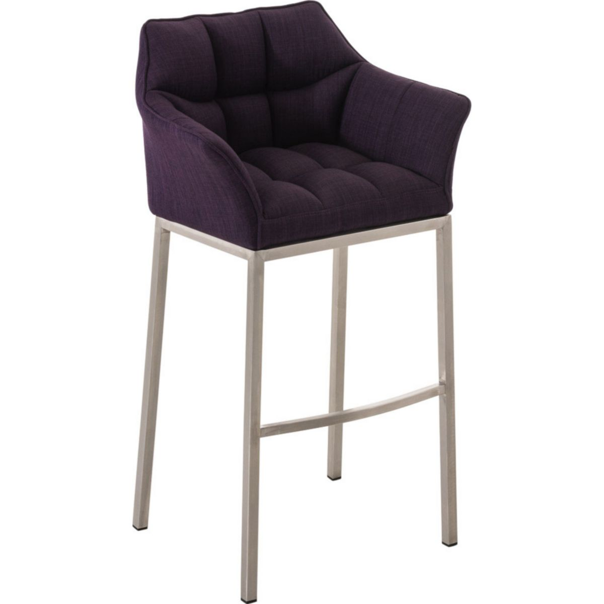 CLP Design Edelstahl Barhocker DAMASO, Stoff-Bezug, Sitzhöhe 83 cm, gut gepolstert, 4 Beine, mit Lehne, Fußstütze jetztbilligerkaufen