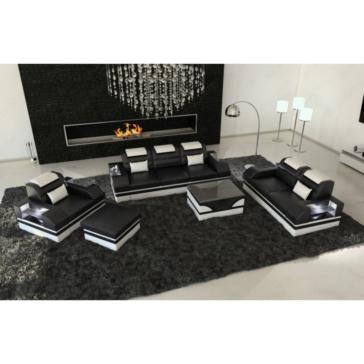Sofa Dreams Leder Couchgarnitur Parma