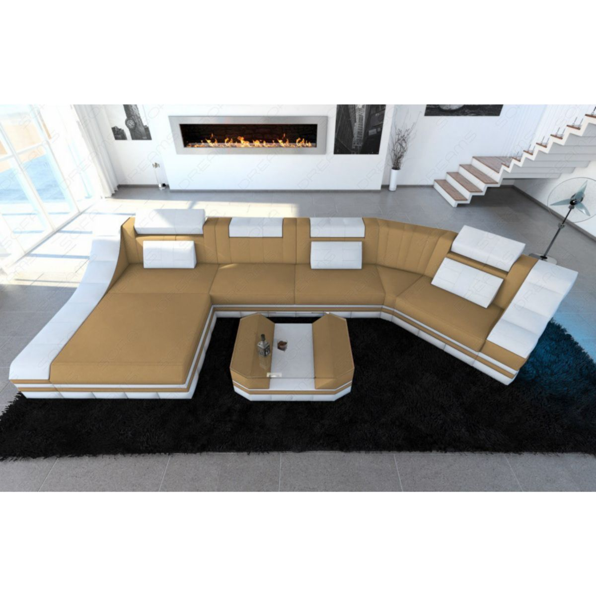 Sofa Dreams New Look Polster Wohnlandschaft TURINO C Form LED