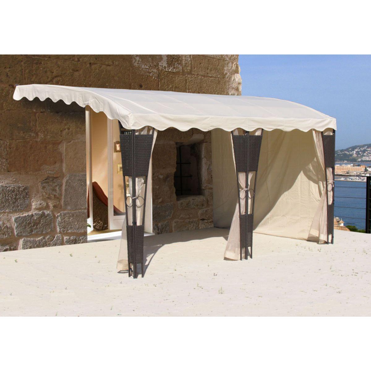 Seitenwandset 3tlg Anbaupergola Mallorca Rattan Sand
