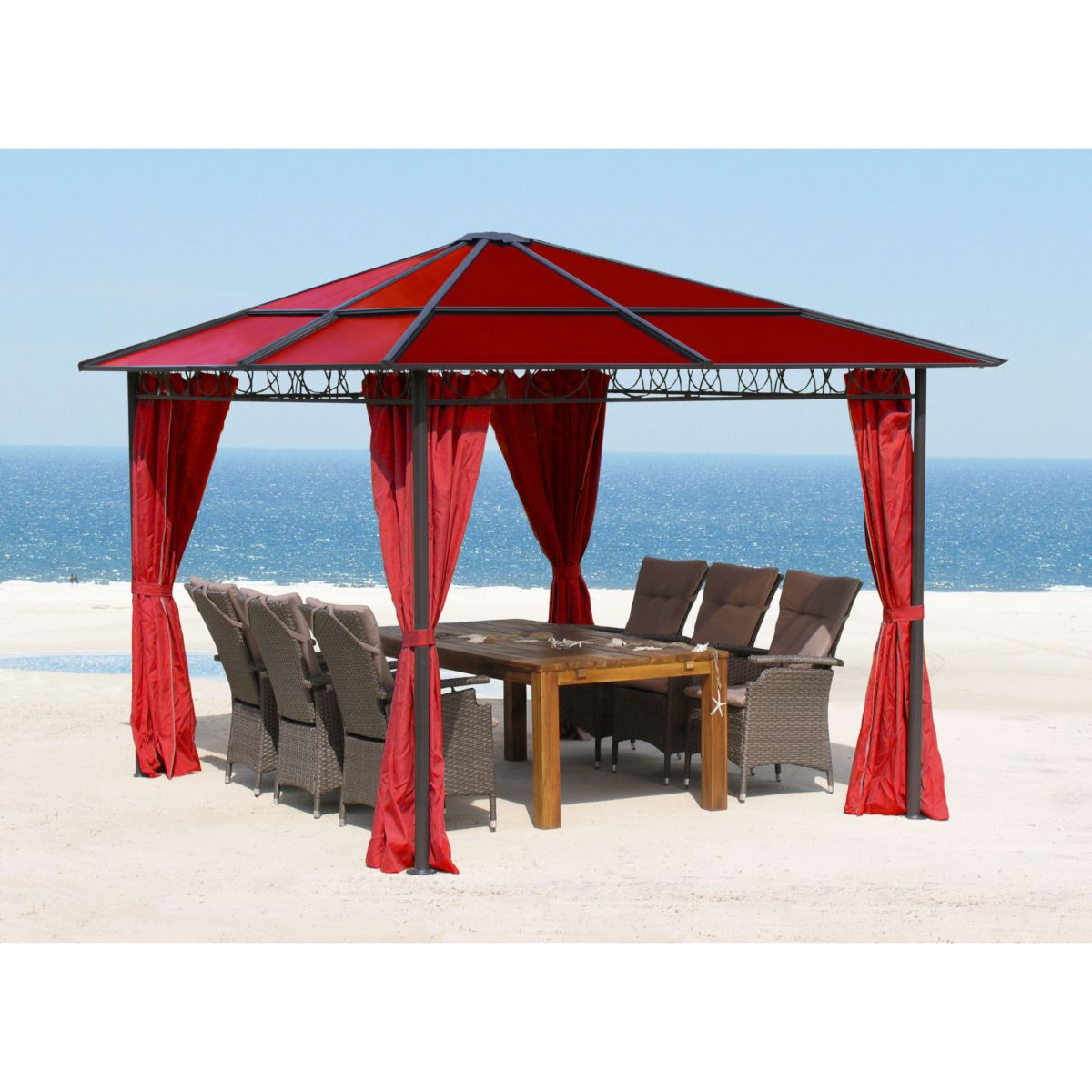 Grasekamp Pavillon 3x3m mit Doppelstegplatten und Seitenteile Rubin Polycarbonat jetztbilligerkaufen