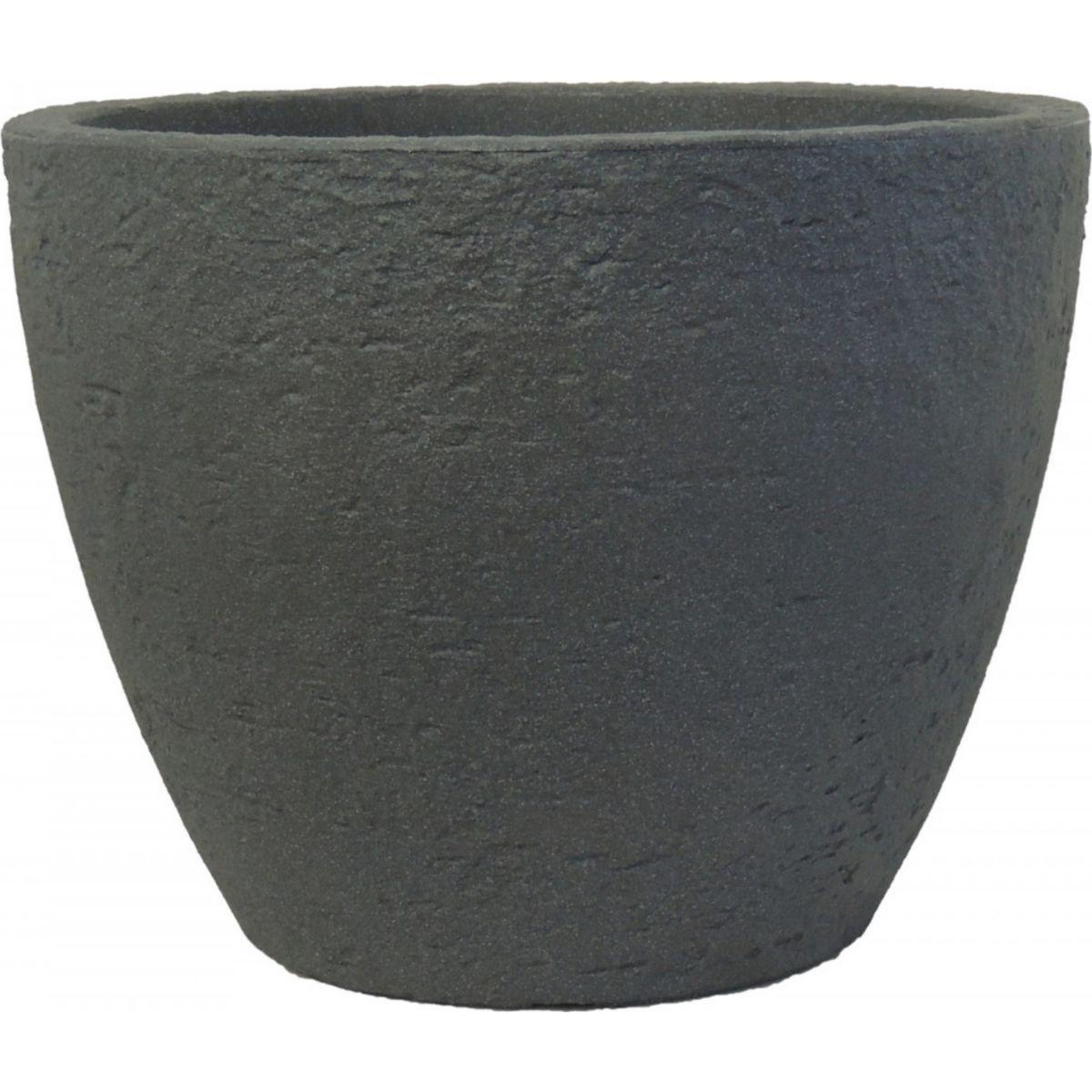 Pflanzkübel Stone rund aus Kunststoff Steinoptik anthrazit 38, 60 cm