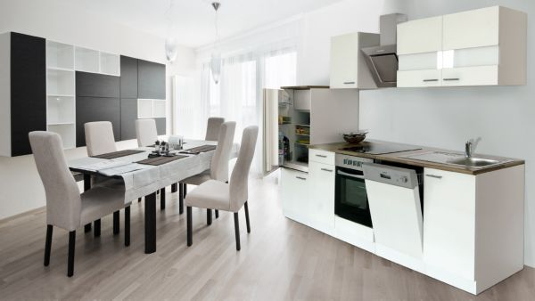 k chenzeile 280 cm wei schr ghaube k che k chen k chenblock k chenm bel ebay. Black Bedroom Furniture Sets. Home Design Ideas