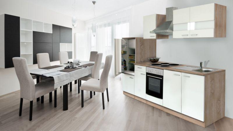 Respekta Küchenzeile KB270ESW 270 cm Weiß-Eiche Sägerau Nachbildung