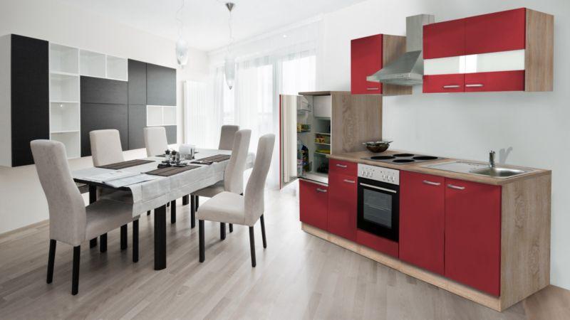 Respekta Küchenzeile KB270ESR 270 cm Rot-Eiche Sägerau Nachbildung