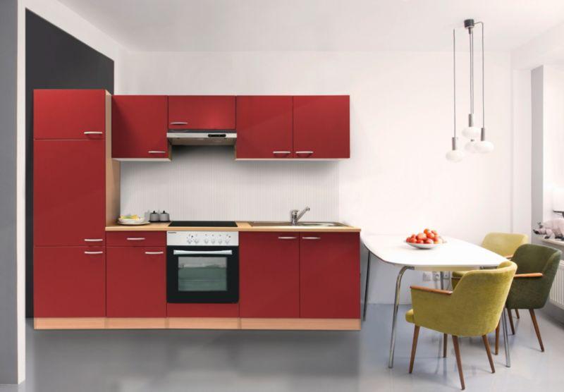 Respekta Küchenzeile KB270BREC 270 cm Rot-Buche Nachbildung