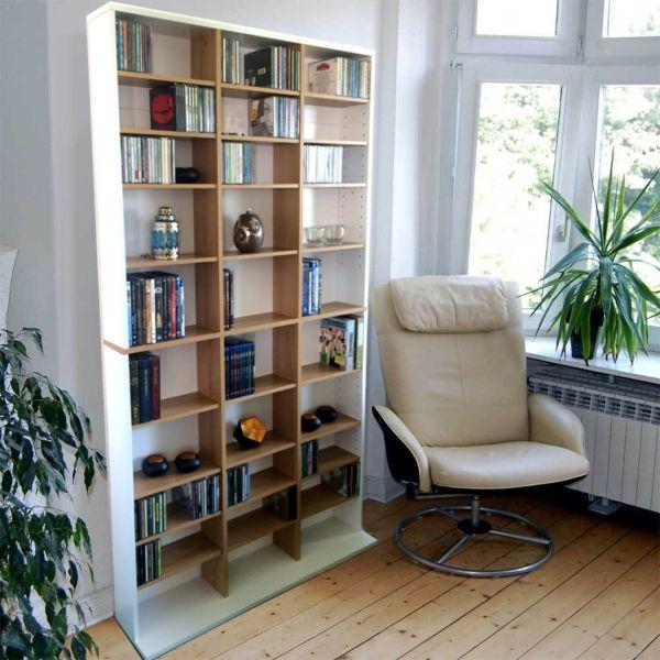 benedomi cd dvd regal f r 1080 cds oder 504 dvds wandregal b cherregal ebay. Black Bedroom Furniture Sets. Home Design Ideas