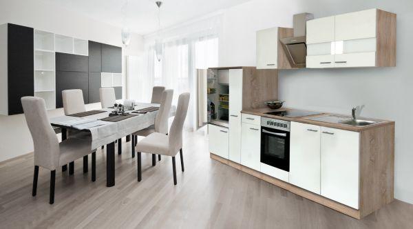 respekta k chenzeile kb270eswcse 270 cm wei eiche s gerau nachbildung k che ebay. Black Bedroom Furniture Sets. Home Design Ideas
