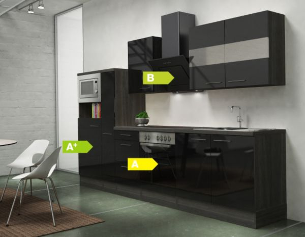 respekta premium k chenzeile rp300ewcmis 300 cm eiche grau nachb k chen k che ebay. Black Bedroom Furniture Sets. Home Design Ideas
