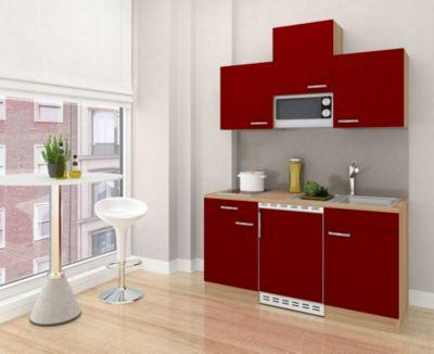 Respekta Küchenzeile KB150ESRMIC 150 cm Rot-Eiche Sägerau Nachbildung