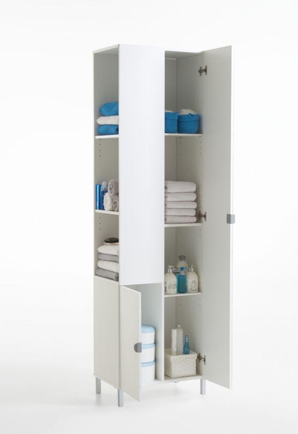 haushaltsschrank hochschrank mehrzweckschrank wei spiegel schrank stauraum ebay. Black Bedroom Furniture Sets. Home Design Ideas