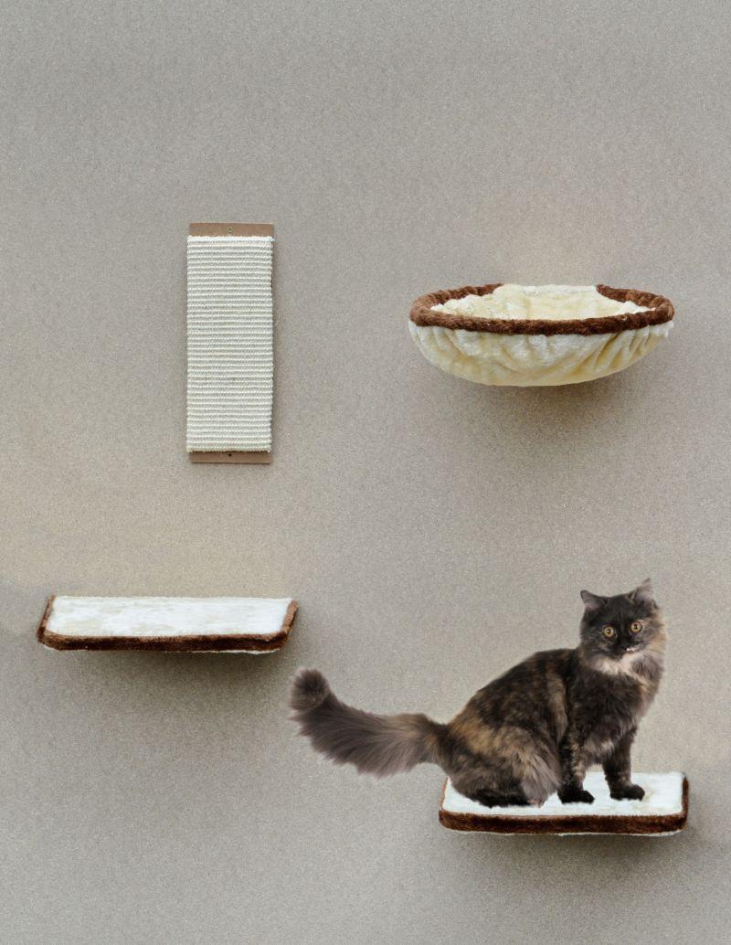 Silvio Design Katzen-Kletterwand 4-teilig beige...