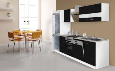 Respekta Küchenzeile KB280WSCGKE178 280 cm Weiß - Schwarz