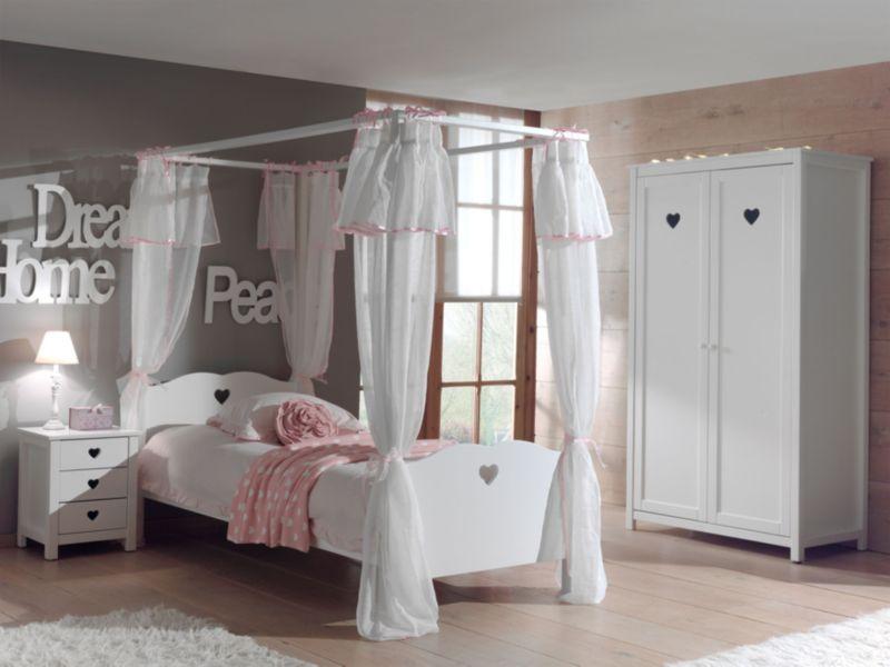 Vipack 4tlg. Set Amori mit Himmelbett inkl. Vorhang, Nachtkommode & Kleiderschrank 2trg.
