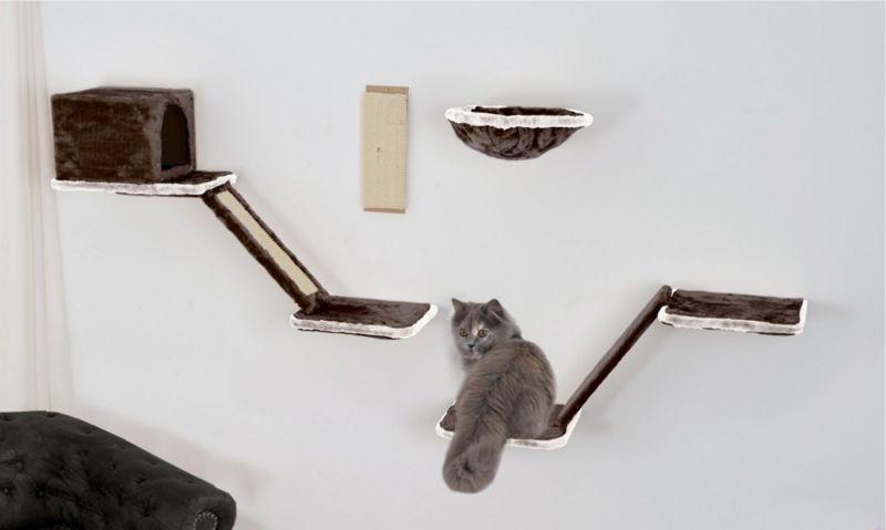 Silvio Design Katzen-Kletterwand 8-teilig grau