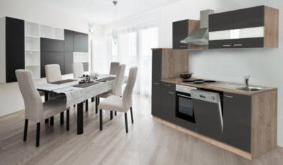 Respekta Küchenzeile KB250ESG 250 cm Grau-Eiche Sägerau Nachbildung