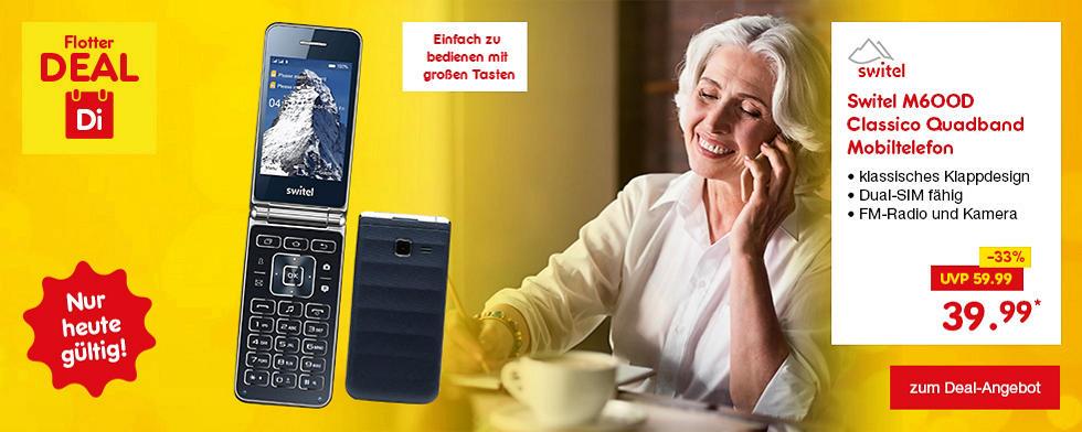 Flotter Deal - Switel M600D Classico Quadband Mobiltelefon nur heute für nur 39.99*