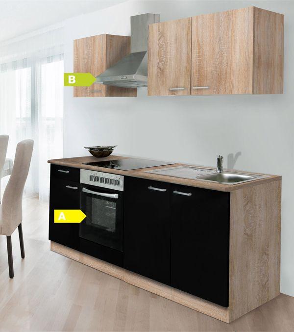 respekta k chenzeile kb210eswoes 210 cm eiche sonoma s gerau nachbildung k che ebay. Black Bedroom Furniture Sets. Home Design Ideas