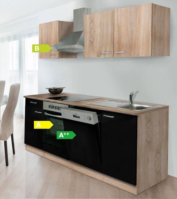 respekta k chenzeile kb220eswoes 220 cm eiche sonoma s gerau nachbildung k che ebay. Black Bedroom Furniture Sets. Home Design Ideas