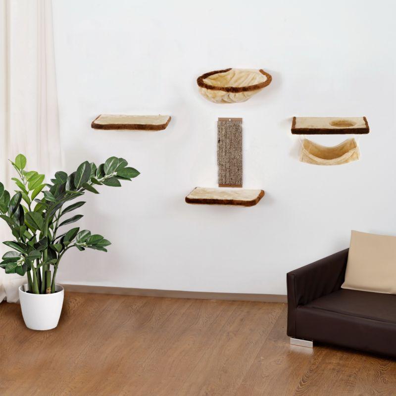 Silvio Design Katzen-Kletterwand 6-teilig beige...