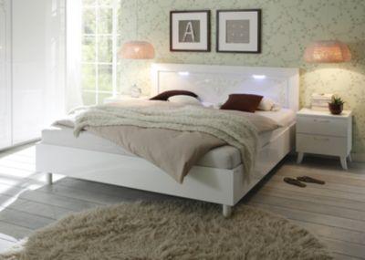 Bett 180 x 200 cm weiss echt hochglanz/ Siebdruck Classico Musa / Dea