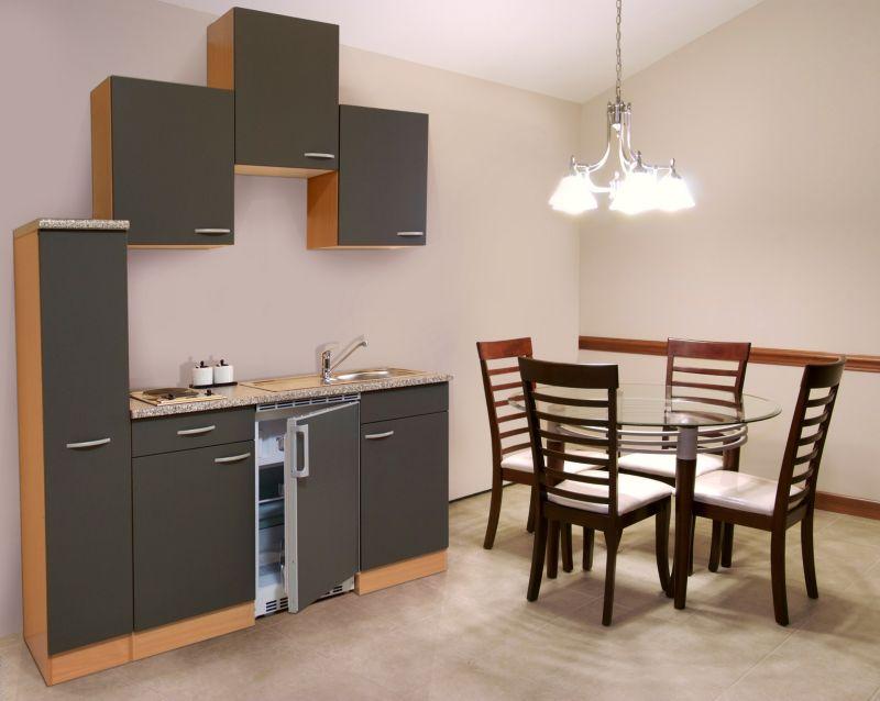 Respekta küchenzeile kb180bg 180 cm grau buche nachbildung