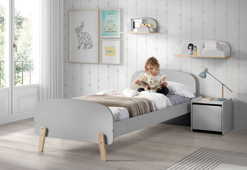 Vipack Einzelbett Kiddy 90x200 cm - Hellgrau