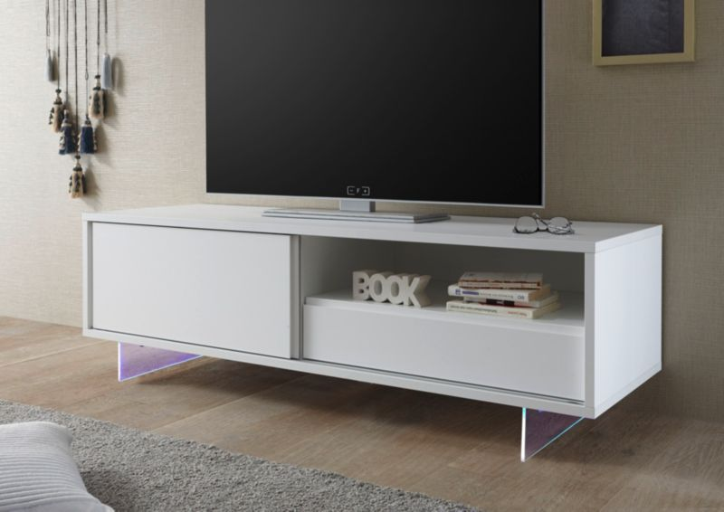 TV-Element weiss matt lackiert/ Füße aus Acrylg...