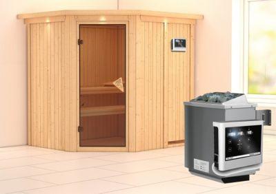 Karibu Siirin Sauna, mit Kranz, Ofen 9 kW, externe Steuerung easy