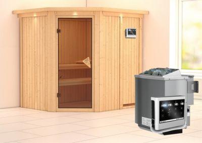 Karibu Siirin Sauna, mit Kranz, Ofen 9 kW, Bio, externe Steuerung easy
