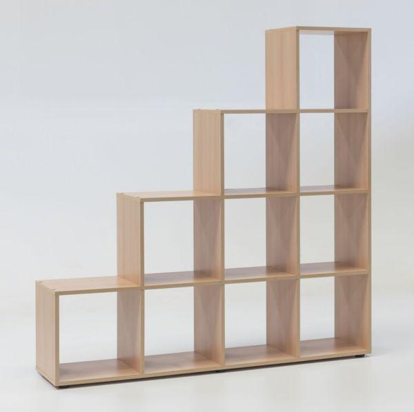 treppenregal mit 10 f chern buche dekor raumteiler regal ebay. Black Bedroom Furniture Sets. Home Design Ideas