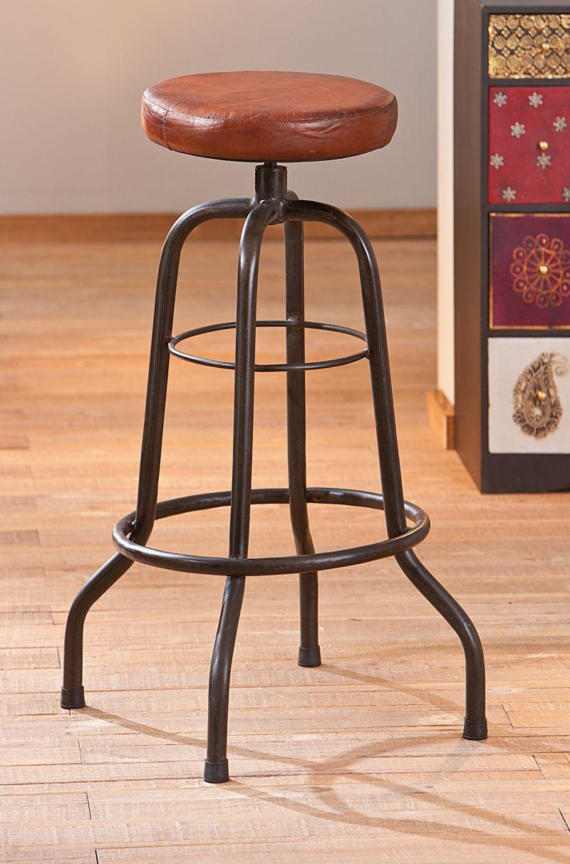 Link´s Bar-Stuhl Metall mit Ledersitz Longo
