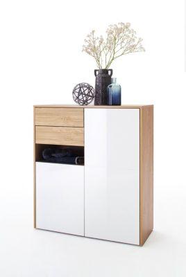 Kommode Weiss Hochglanz / Winchester Eiche MCA-Furniture Marlisa