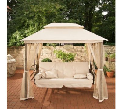 Hollywoodschaukel mit pavillon  LUXUS Hollywoodschaukel KENIA mit Bettfunktion (3-Sitzer) INKL. 8 ...