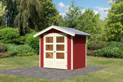 Karibu Harburg 2 modern, 19 mm inkl. Gartenpflegebox, kastanienrot