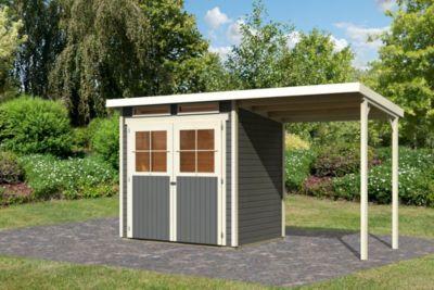 Karibu Glücksburg 2 mit Anbaudach, 19 mm inkl. Gartenpflegebox, terragrau