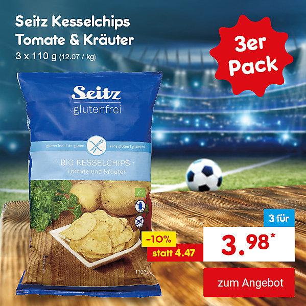 Unser Hattrick-Angebot für Sie - Seitz glutenfrei Bio Kesselchips Tomate & Kräuter, 3 x 100 g, für nur 3.98 €*