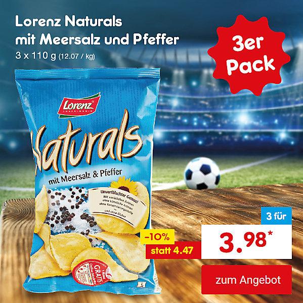 Unser Hattrick-Angebot für Sie - Lorenz Natural Chips mit Meersalz & Pfeffer, 3 x 100 g, für nur 3.98 €*