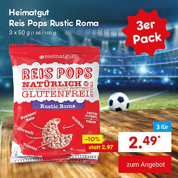 Unser Hattrick-Angebot für Sie - Heimatgut Reis Pops Rustic Roma, 3 x 50 g, für nur 2.49 €*