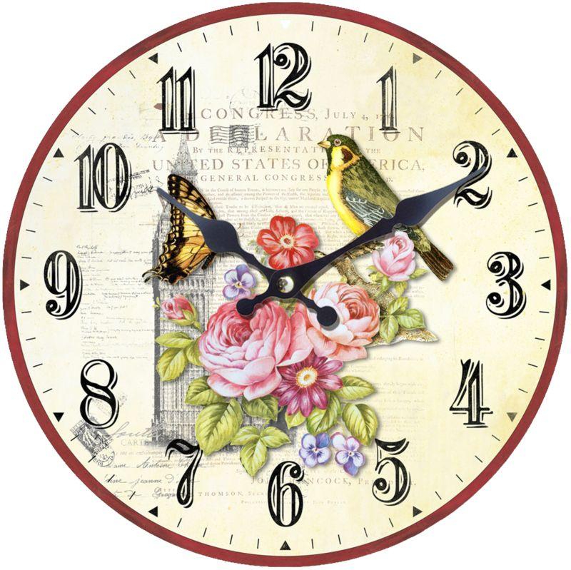 Deko Uhr - MDF Retro Vogel