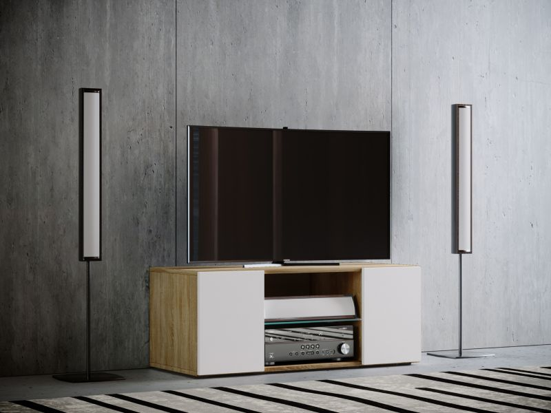 VCM TV - Lowboard ´´Jusa´´ Mini, Sonoma - weiß