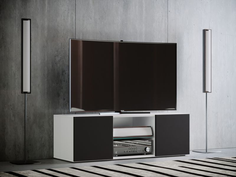 VCM TV - Lowboard ´´Jusa´´ Mini, weiß / schwarz