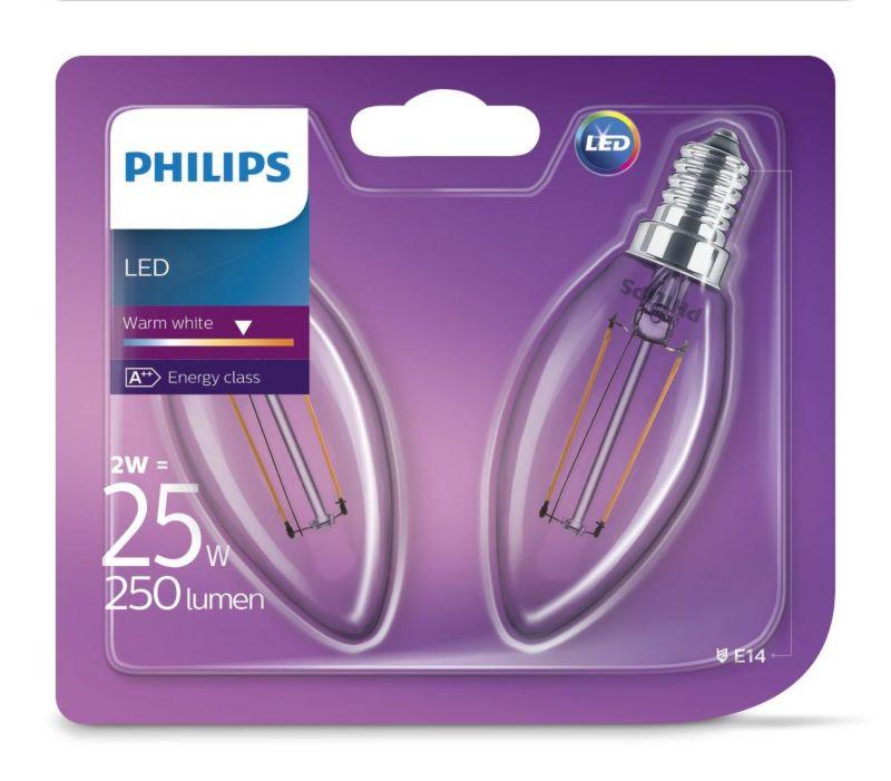 PHILIPS LED Leuchtmittel - Filament Kerze 25W B...
