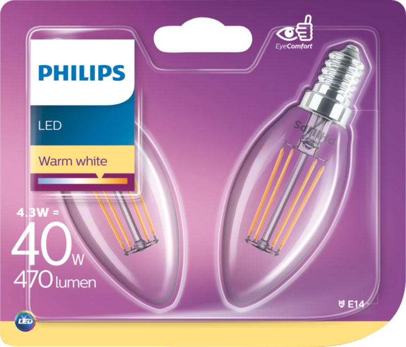 PHILIPS LED Leuchtmittel - Filament Kerze 40W B...
