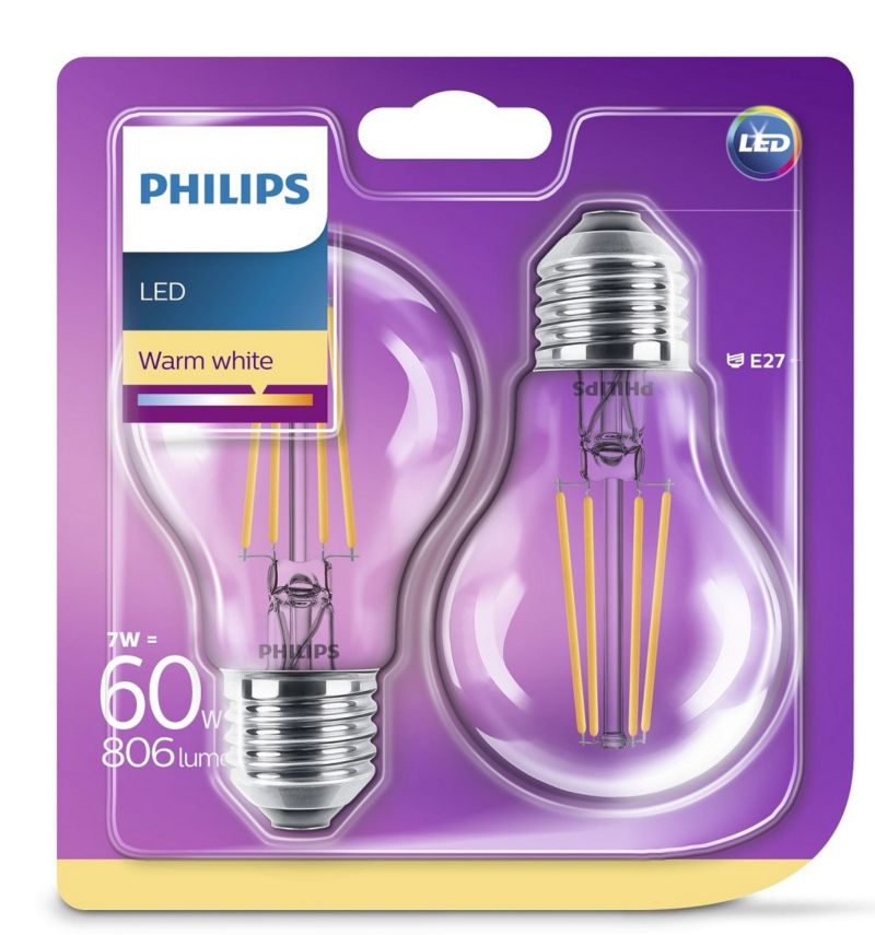 PHILIPS LED Leuchtmittel - Birne 60W A60 E27, 2...