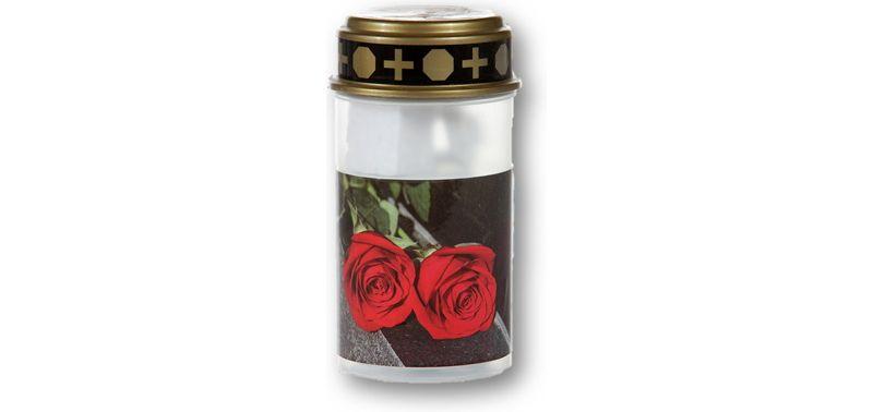 LED Grablicht - Weiß mit Rosen