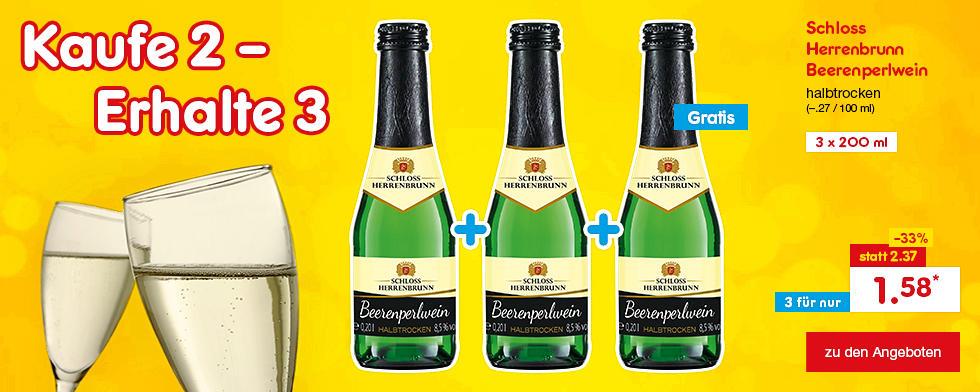 Kaufe 2 - Erhalte 3: 3 x Schloss Herrenbrunn Beerenperlwein, für nur 1.59 €*