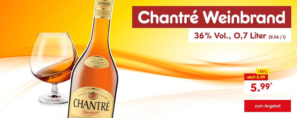 Chantré Weinbrand, 36 % Vol. - jetzt für nur 5.99 €*