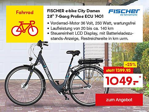 "FISCHER e-bike City Damen 28"" 7-Gang Proline ECU 1401 nur 1049.-*"