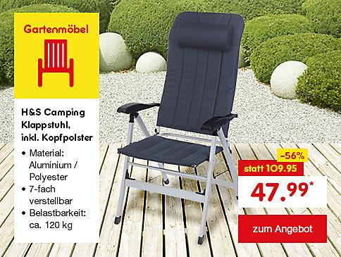 H&S Camping Klappstuhl, inkl. Kopfpolster, nur 47.99 €*